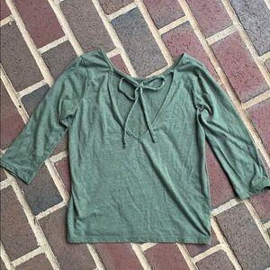 J crew xs olive green 3/4 sleeve shirt